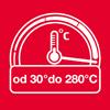Szeroki zakres temperatur: 30°C - 280°C