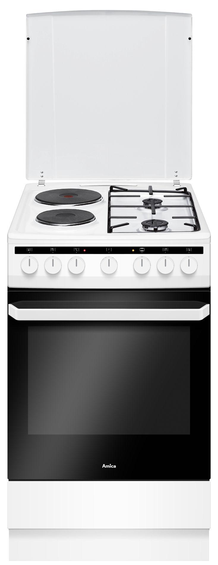Kuchnia wolnostojąca gazowo elektryczna 500 58ME2 35HZpMs(W)  Amica -> Kuchnia Amica Gazowo Elektryczna Instrukcja Obslugi