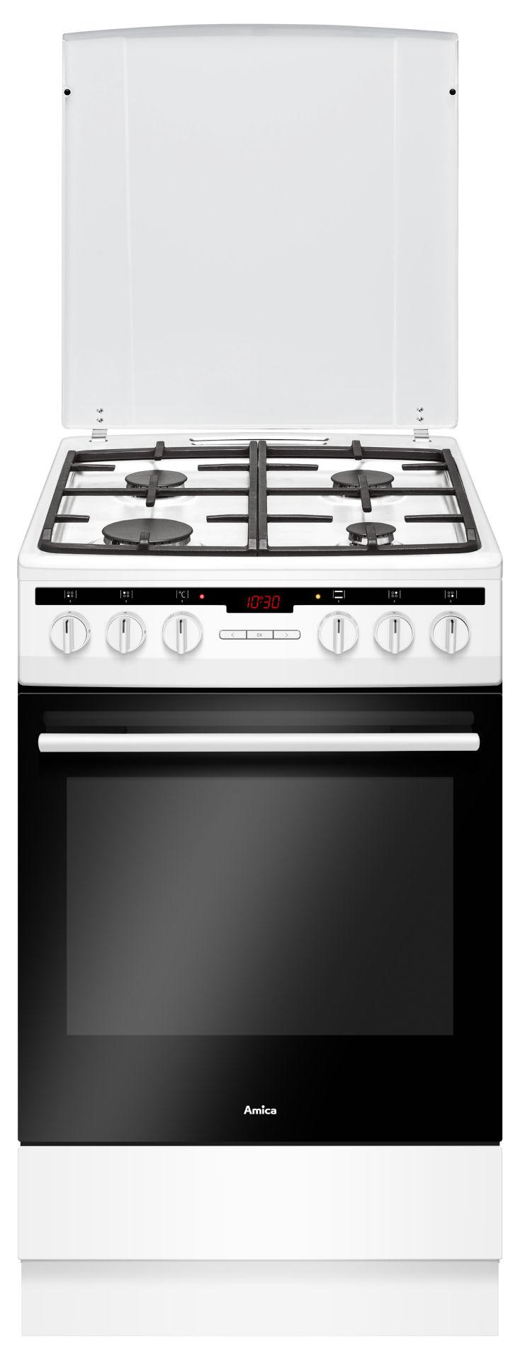 Kuchnia wolnostojąca gazowo elektryczna 500 57GE3 33HZpTaDAQ(W)  Amica -> Kuchnia Amica Gazowo Elektryczna Instrukcja Obslugi